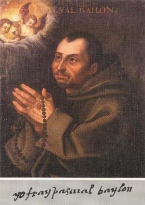 """Lienzo-retrato del Santo conservado en su parroquia de Torrehermosa (España) y firma: """"Yo, fray Pascual Baylón""""."""