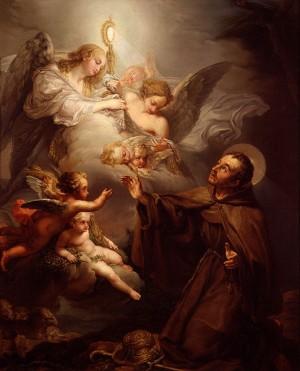 San Pascual Baylón adorando el Santísimo Sacramento. Lienzo de López Piquer, Museo de Bellas Artes Pío V, Valencia (España).