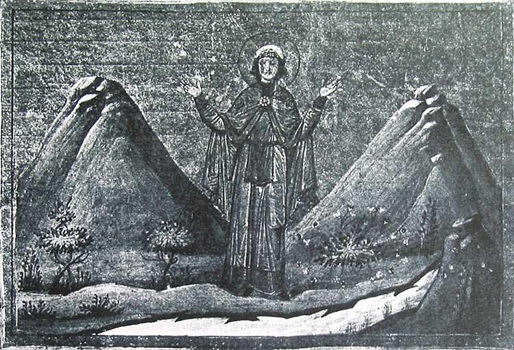 La Santa hace brotar el manantial de las rocas. Menologio de Basilio II. Biblioteca Apostolica Vaticana, Roma (Italia).