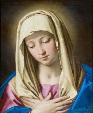 """""""Virgen Orante"""", Giovanni Battista Salvi """"Il Sassoferrato"""" (1609-1685). Lienzo de 46x35 cm. Sacristía mayor de la catedral de Pamplona (España)"""