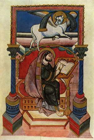 San Lucas redactando el Evangelio. Miniatura de un códice griego, siglo XIV