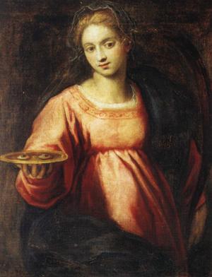 "Santa Lucía, óleo sobre lienzo de Giacopo Palma ""Il Giovane"". Iglesia de los Santos Jeremías y Lucía. Venecia (Italia)"