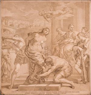 """Martirio de Santa Bibiana"", grabado de Robert Van Audenaerd, c. 168691. Original de Pietro da Cortona. Istituto Nazionale per la Grafica, Roma (Italia)."