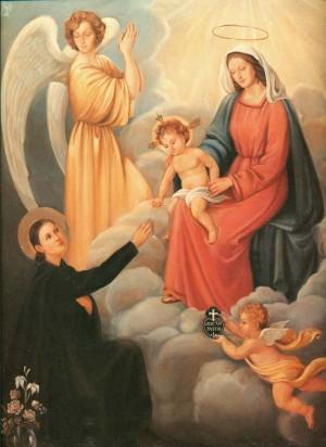 Matrimonio místico de Santa Gema, en presencia de su ángel de la guarda. Lienzo contemporáneo.