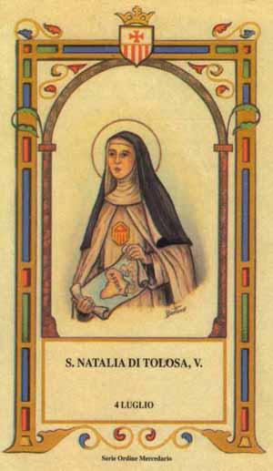 Estampa devocional de la Santa. Serie de la Orden Mercedaria por el ilustrador italiano Bertino.