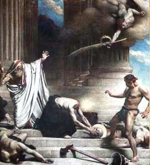 """Martirio de San Dioniso"", óleo neoclásico de M. Bonnat. Iglesia del Panteón de París (Francia)."