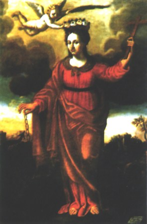"""Santa Margarita de Antioquía"", óleo anónimo de 1707. Altar mayor de la iglesia de Vallimpuni (Italia)."
