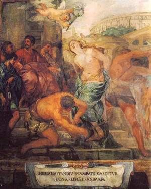 """Martirio de Santa Bibiana. Fresco del pintor barroco Pietro Berrettini, dicho """"Pietro da Cortona"""". Iglesia de Santa Bibiana, Roma (Italia)."""