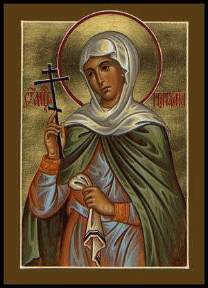 Santa Natalia, esposa del mártir San Adrián de Nicomedia. Icono ortodoxo ruso obra del iconógrafo Paul Drozdowski.