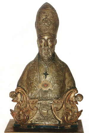 Busto relicario en plata del Santo. Iglesia de la Consolación de Nereto, Italia.