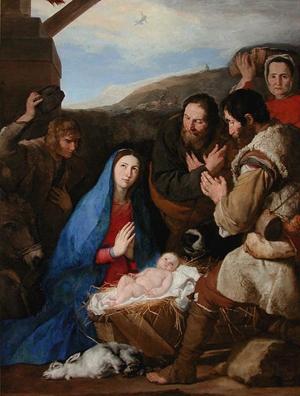"""""""Adoración de los Pastores"""". Óleo de José de Ribera (siglo XVII)."""