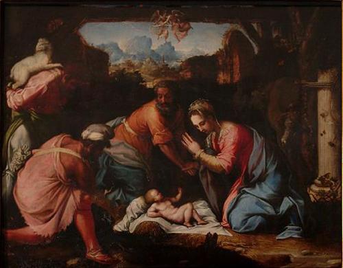 """""""Adoración de los Pastores"""", óleo de Francesco de Rossi (siglo XVI)."""