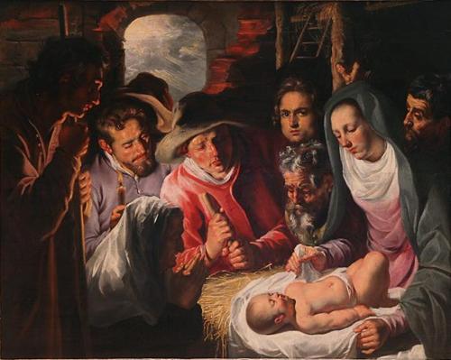 """""""Adoración de los Pastores"""", óleo de Jacob Jordaens, inicios del siglo XVII. Barroco flamenco."""