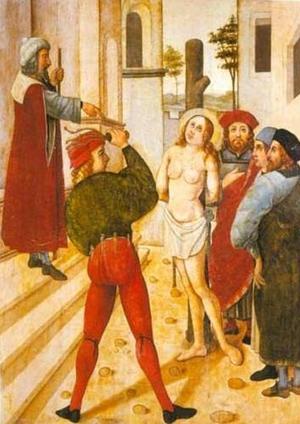 Flagelación de la Santa. Detalle de un retablo gótico. Museo Diocesano de Burgos (España).