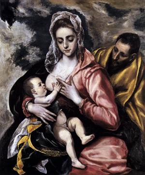 """La Sagrada Familia"", óleo de Domenikos Theotokopoulos ""El Greco"". Hispanic Society of America, Nueva York (EEUU)."