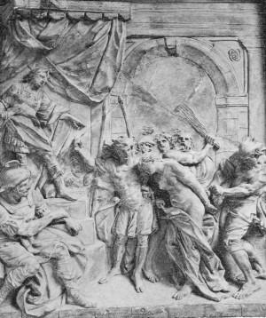 Martirio de la Santa. Relieve escultórico de Alfonso Giraldo Bergáz, c. 1770–1812. Real Academia de Bellas Artes de San Fernando, Madrid (España).
