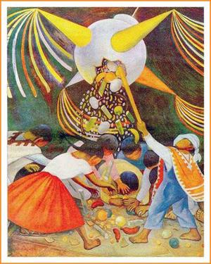 Detalle de un mural de Diego Rivera mostrando el momento de romper la piñata durante las posadas de diciembre.