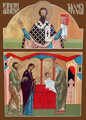 Icono ortodoxo griego doble: San Basilio el Grande (arriba) y la Circuncisión (abajo).