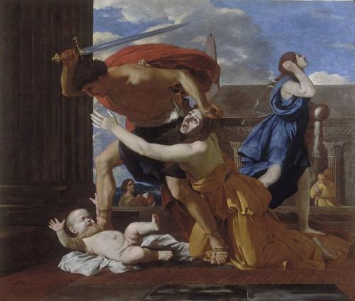 """""""La Masacre de los Inocentes"""", lienzo de Nicolás Poussin (1625-29). Museo Condé, Chantilly (Francia)."""
