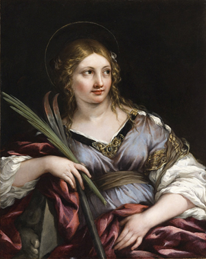 "Óleo de la Santa, obra de Pietro Berrettini ""da Cortona"" (s. XVII). Los Ángeles County Museum, California (EEUU)."