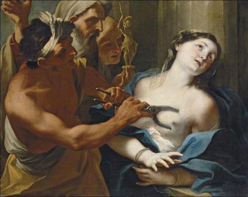 Martirio de Santa Águeda. Óleo de Stefano Maria Legnani (ca.1680-1715).