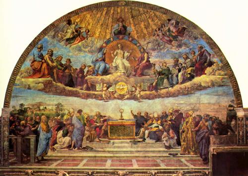 """Disputa del Sacramento"", fresco de Rafael Sanzio. Estancia de la Signatura, Ciudad del Vaticano."