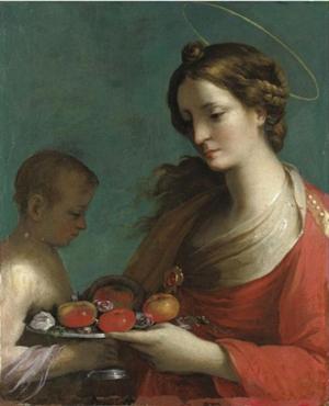 Óleo de la Santa obra del pintor barroco Simone Pignoni (1611-1698).
