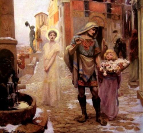 """""""El milagro de Santa Dorotea"""", lienzo de Rupert Bunny. Tras el martirio de la Santa, el ángel entrega las rosas a Teófilo."""