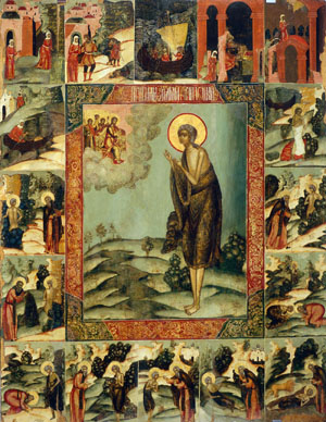 Icono ortodoxo ruso de la Santa (s.XVIII) rodeado de escenas de su vida.