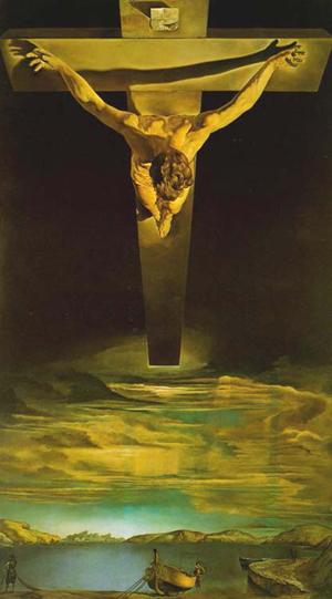 """""""Cristo de San Juan de la Cruz"""", óleo del pintor surrealista Salvador Dalí (1951). Museo Kelvingrove, Glasgow (Reino Unido)."""