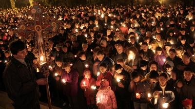 Celebración de la Resurrección en la noche.