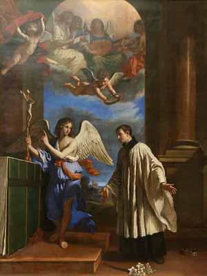 """""""La vocación de San Luis Gonzaga"""", óleo de Giovanni Francesco Barbieri """"Il Guercino"""" (s.XVII). Metropolitan Museum of Art, New York (EEUU)."""