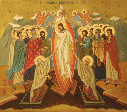 Fresco ortodoxo rumano de la Anástasis (resurrección).