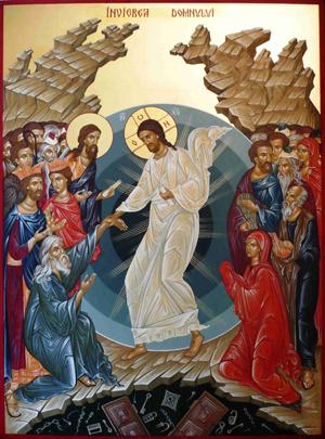 Icono ortodoxo rumano de la Anástasis (resurrección).