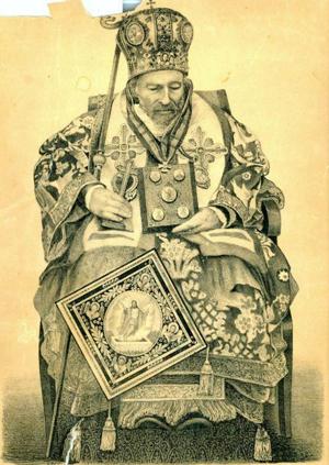 El Santo ya fallecido, sentado y ataviado con los ornamentos de Jerarca. Litografía original de 1868, Monasterio de Sireti (Rumanía).