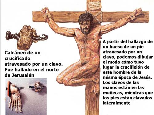 Reconstrucción de la crucifixión practicada en el siglo I a partir de los restos de Jehohanan.