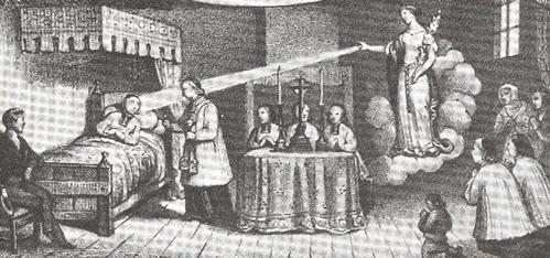 Curación de San Jean-Marie Vianney por intercesión de la Santa. Viejo grabado en Ars, Francia.