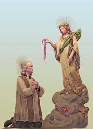 Grupo escultórico de Santa Filomena y San Jean-Marie Vianney. Iglesia de Nuestra Señora de Gracia, Mugnano del Cardenal (Italia).