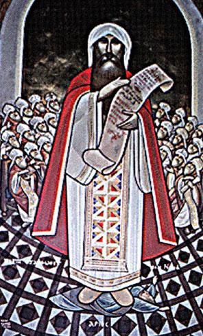 Icono copto de San Atanasio, patriarca de Alejandría (Egipto).