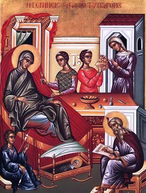 Icono ortodoxo griego de la Natividad del Santo.