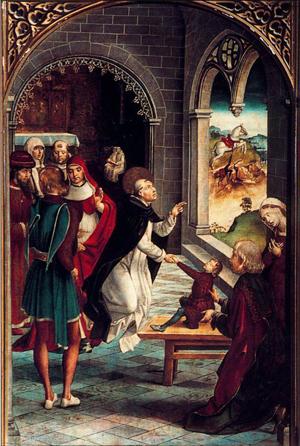 Santo Domingo resucita a un joven. Tabla gótica de Pedro Berruguete. Museo Nacional del Prado, Madrid (España).
