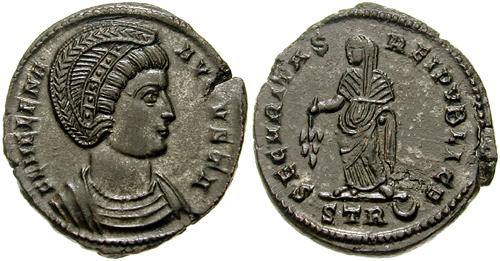 Moneda romana con la efigie de la Santa.