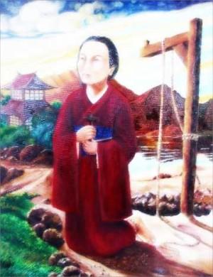 """Pintura de Santa Magdalena de Nagasaki con un ejemplar de """"tsurushi"""" al fondo, instrumento de su martirio."""