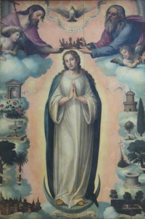 La Inmaculada Concepción. Lienzo de Juan de Juanes (1562). Iglesia del Sagrado Corazón de Jesús (La Compañía), Valencia, España. Fotografía: Ana Mª Ribes.