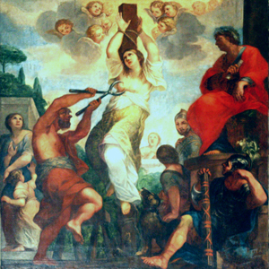 Martirio de la Santa. Lienzo de Paolo Gismondi, ca.1640-85. Iglesia de Sant'Agata dei Goti, Roma (Italia).
