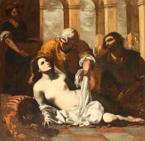 Santa Águeda colocada sobre un lecho de brasas. Óleo de Francesco Guarini, ca.1630-51. Museo di San Martino, Nápoles (Italia).
