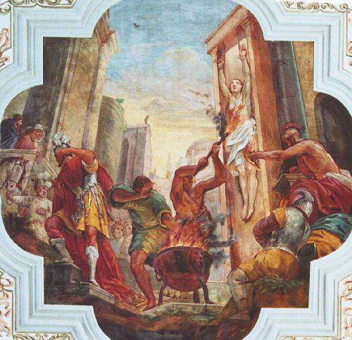 Santa Margarita quemada con antorchas. Detalle de un fresco en su iglesia de Waldkirch, Alemania.