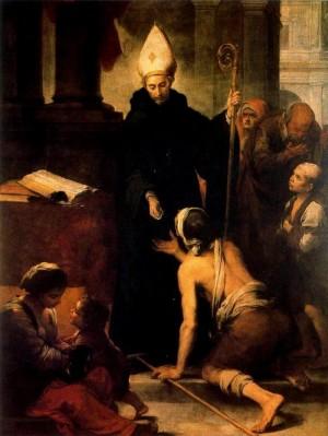 El Santo repartiendo limosna entre los pobres. Lienzo de Bartolomé Esteban Murillo (ca. 1678). Museo Provincial de Bellas Artes de Sevilla, España.