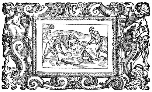 "Santa Paulina siendo enterrada viva. Grabado de Antonio Tempesta (1605) para ""Historia delle sante vergini romane"", de Antonius Gallonius. Pitts Theology Library, Emory University, Atlanta (EEUU)."