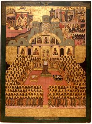 Icono del II Concilio de Nicea. siglo XVII, monasterio Novodévichy, Moscú (Rusia).